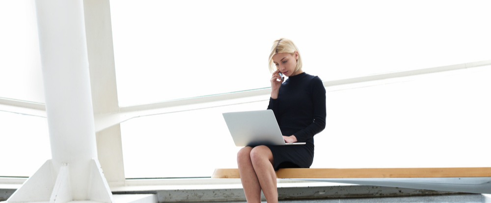 Woman working with G Suite and Office 365