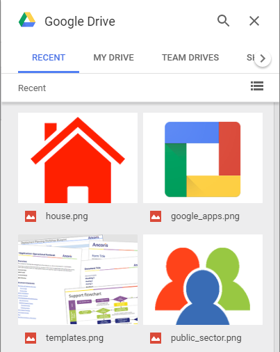 Choosing images from recently accessed files in Google Drive