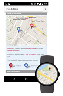 Wearable device showing Google Maps and directions