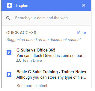 How to use the Explore pane in Google Docs