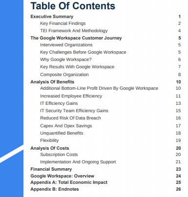 Forresters Google Workspace impact table of contents