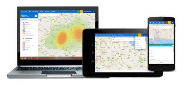 Several devices with Google Maps heatmap