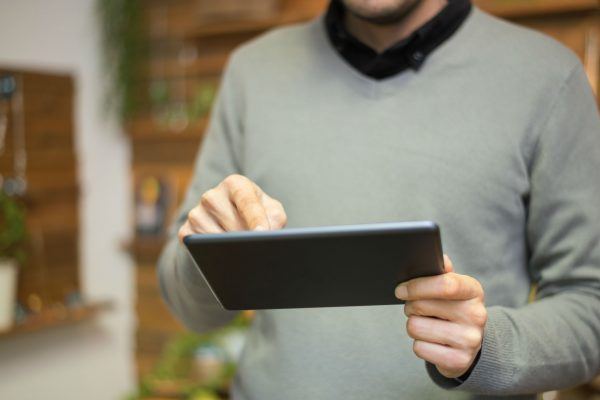 Man using a Chrome tablet
