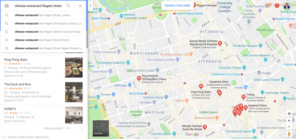 Places on Google Map in London