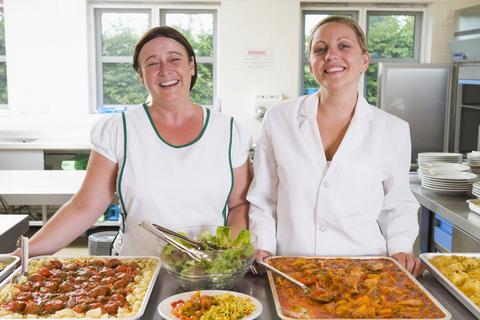 Dinner ladies in kitchen