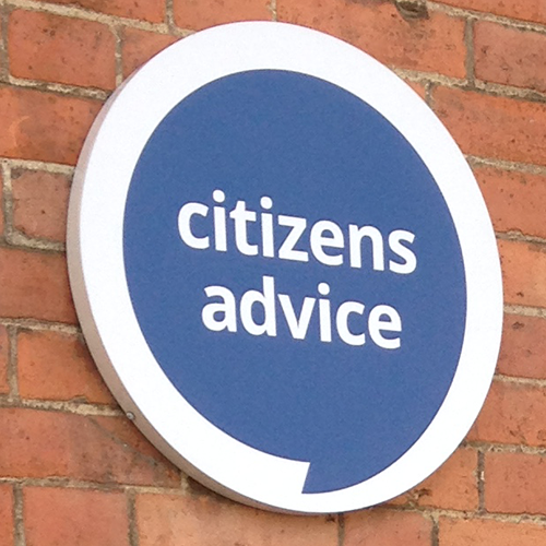 Citizens Advice logo on wall