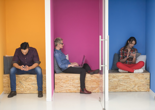 3 People working in colourful pods