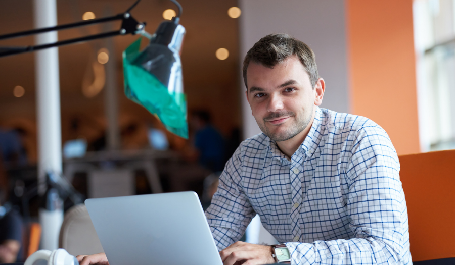 Man working with Google Workspace