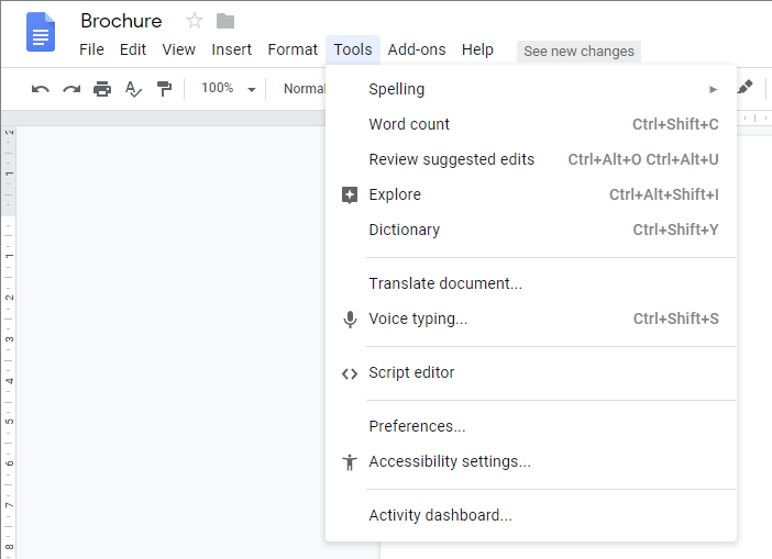 Quicker access to accessibility settings in Google Docs