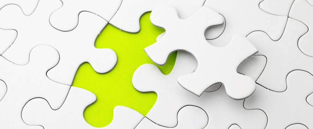Puzzle representing integrated workspace