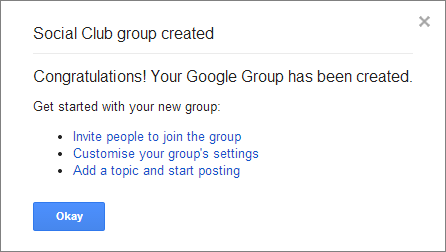 Google Groups creation confirmation