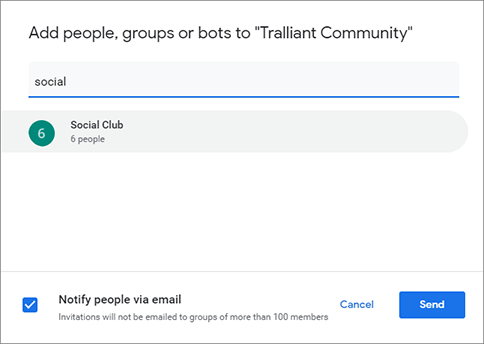 Sending chat invite to Google Group